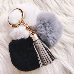 Black, Gray, and White Furry Balls Tassel Keychain